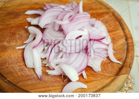 Chopped Red Onions On Board
