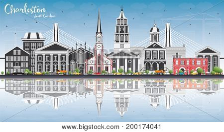 Charleston South Carolina Skyline with Gray Buildings, Blue Sky and Reflections. Business Travel and Tourism Illustration with Historic Architecture.