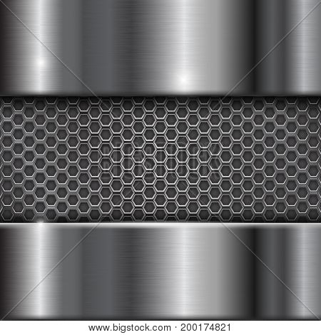 Metal stainless steel background with perforation. Vector 3d illustration
