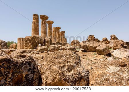 Valley of Temples Agrigento Sicily in Italy.