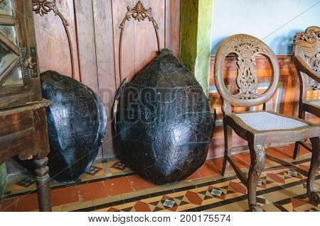 Goa, India - November 16, 2012: Menezes Braganza Pereira House - colonial Villa-Museum of Portuguese era with decoration of 16-18 century. Old tortoiseshells from collection of the Braganza family