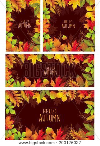 Set of Seasonal banners of autumnal leaves