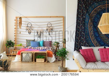Colorful Bedroom With Dreamcatcher Decoration