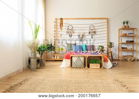 Bedroom With Rug And Shelves