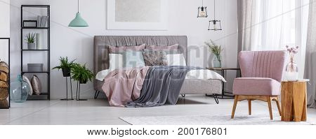 Powder Pink Chair In Bedroom