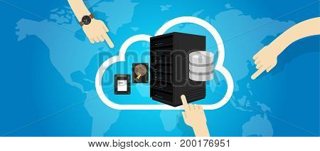 IaaS Infrastructure as a Service on the cloud internet hand decide select vector