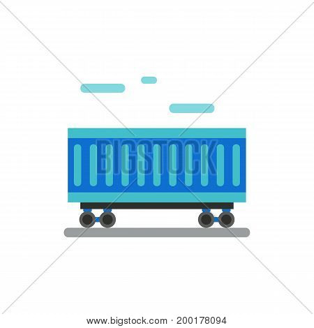 Icon of cargo wagon. Container, railway, export. Logistics concept. Can be used for topics like delivery, industry, distribution