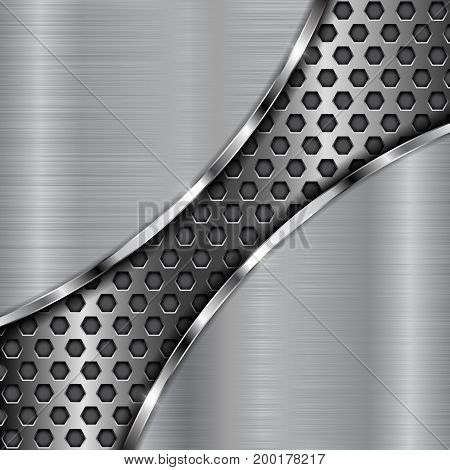 Metal background with diagonal perforation. Abstract stainless steel template. Vector 3d illustration