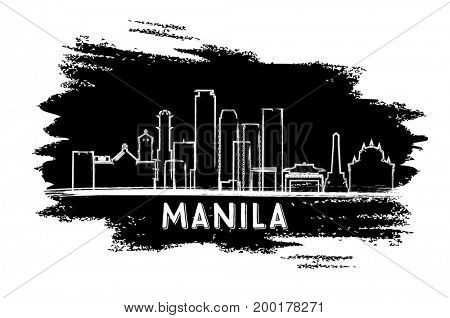 Manila Philippines Skyline Silhouette. Hand Drawn Sketch. Business Travel and Tourism Concept with Modern Architecture. Image for Presentation Banner Placard and Web Site.
