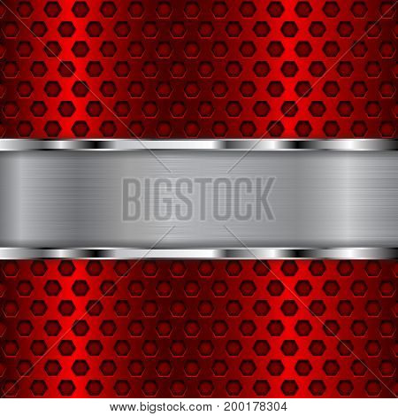 Red perforated background with plate. Vector 3d illustration