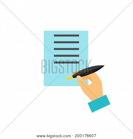 Icon of fountain pen. Signing, hand, paper, paperwork. Stationary concept. Can be used for topics like agreement, contract, signature