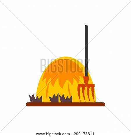 Icon of hay forks. Tool, haystack, wheat. Agriculture concept. Can be used for topics like farm, agronomy, autumn