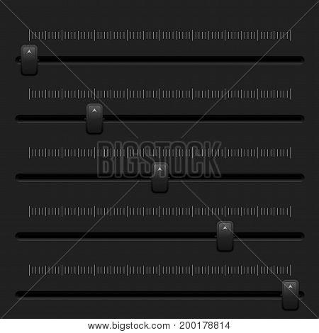 Media slider bar. Black user interface element. Vector 3d illustration