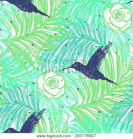 Ink hand drawn Summer seamless pattern with Hummingbirds