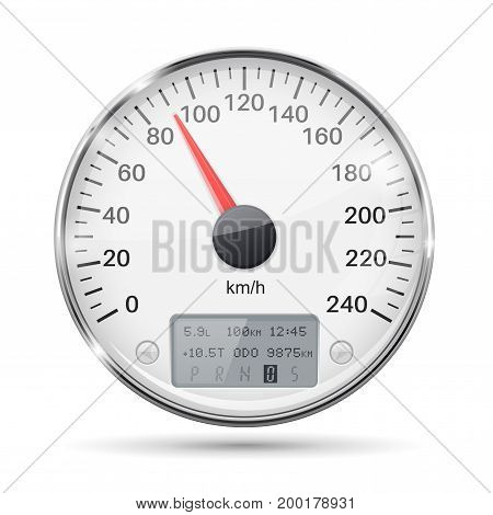 Speedometer. Round white gauge with chrome frame. Vector 3d illustration isolated on white background