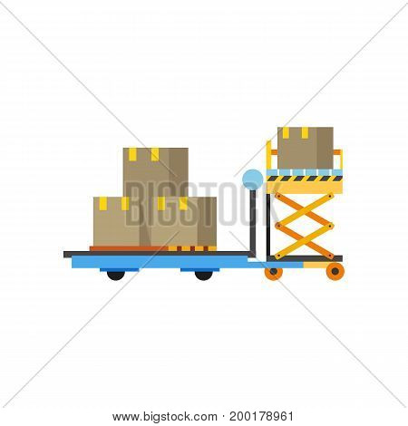 Icon of lift servicing airplane car. Machine, facility, cart. Logistics concept. Can be used for topics like delivery, terminal, distribution