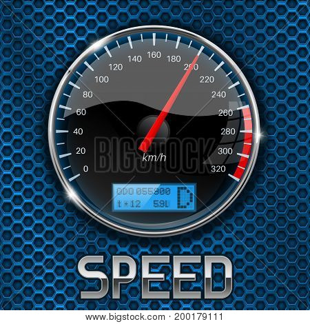Speedometer on blue metal perforated background. Vector 3d illustration