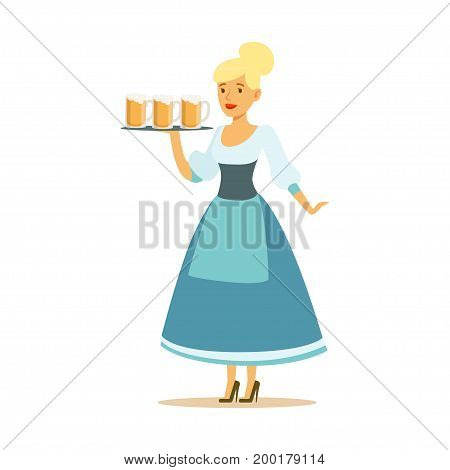 Pretty waitress in a blue Bavarian traditional costume holding beer mugs on a tray, Oktoberfest beer festival vector Illustration on a white background