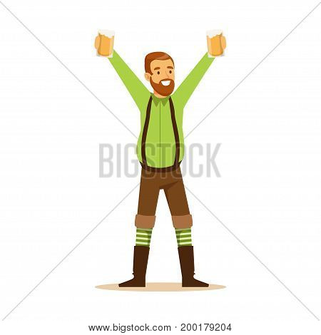 Smiling bearded man in a Bavarian traditional costume holding beer mugs in upraised hands, Oktoberfest beer festival vector Illustration on a white background