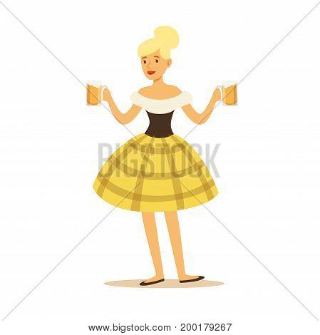 Pretty blonde waitress in Bavarian traditional costume holding beer mugs, Oktoberfest beer festival vector Illustration on a white background