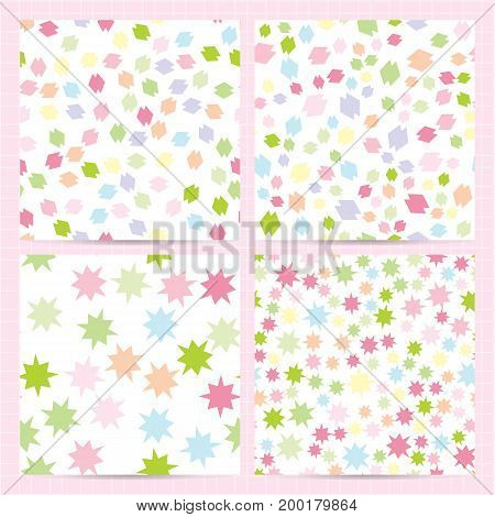 Set Of Square Cards With Seamless Patterns With Random Abstract Colorful Elements. Pale Colors Backg