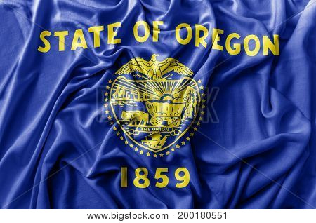 Ruffled waving United States Oregon flag national