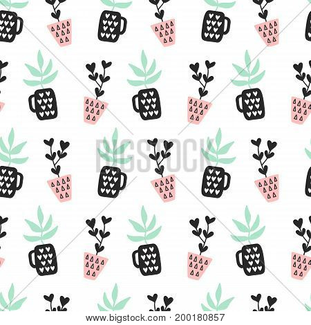 Succulents plants seamless pattern, mint and quartz colors, isolated on white. Vector illustration. Modern Scandinavian style
