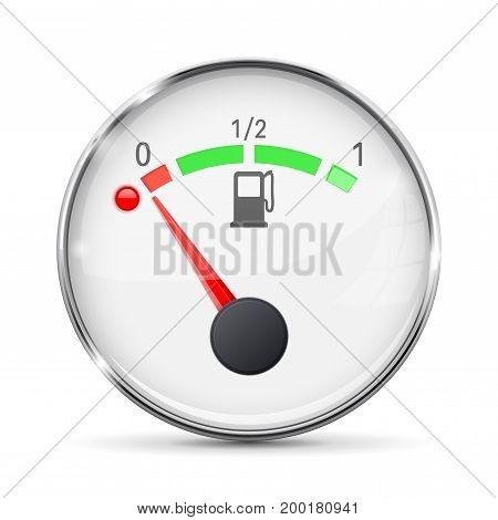 White fuel gauge with chrome frame. Empty tank. Vector 3d illustration isolated on white background
