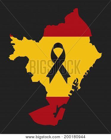 Barcelona condolence map - black ribbon with the flag of Spain