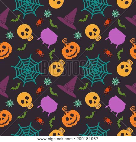 Halloween seamless pattern. Festive decoration of advertising and congratulatory products. Flat vector cartoon illustration. Objects isolated on dark purple background.
