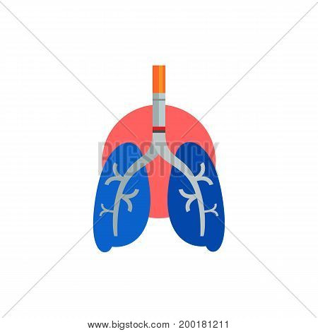 Icon of lungs with cigarette. Illness, organ, harmful. Smoking concept. Can be used for topics like metaphor of smoking, health, danger