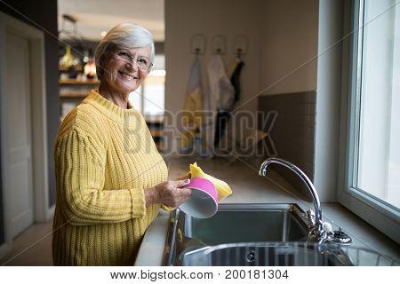 Portrait of smiling senior woman washing dish in kitchen sink