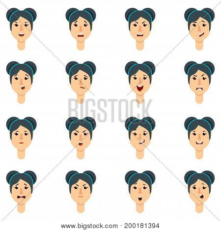 Avatars with expression of brunette woman. Joy, laughter and sorrow, sadness, anger, rage and surprise, shock, crying. Flat vector cartoon character design. Objects isolated on a white background.
