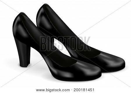 Black women shoes. Vector 3d illustration isolated