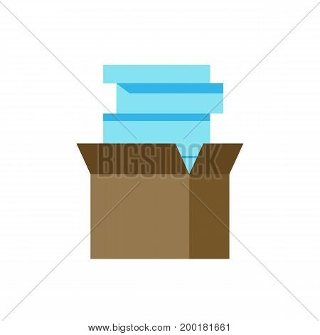 Icon of papers stack. Firing, box, documents. Stationary concept. Can be used for topics like paperwork, backlog, overwork