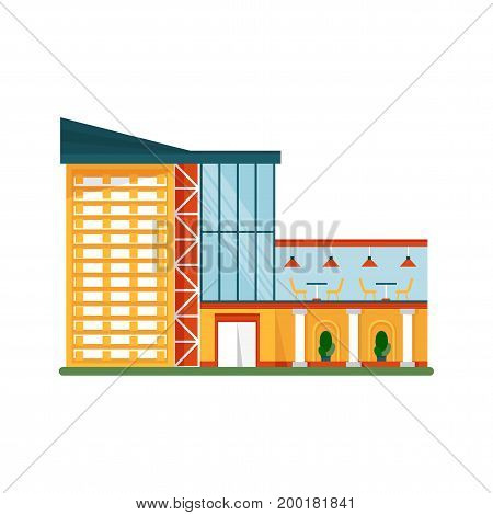 Modern shoping mall. Shopping center exterior. Flat vector cartoon City Buildings and Architecture. Objects isolated on a white background.