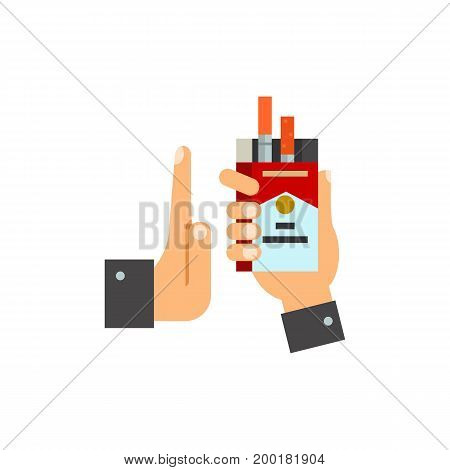 Icon of rejecting cigarette offer. Quitting smoking, giving, refusal, package. Smoking concept. Can be used for topics like new life, healthy lifestyle, anti tobacco