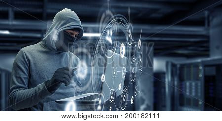 Computer privacy attack. Mixed media . Mixed media