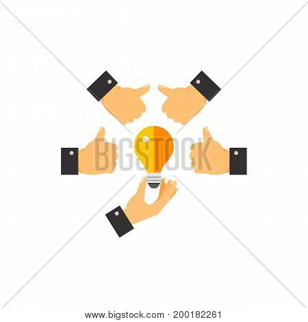 Icon of showing good idea. Thumb-up, electric lamp, circle, hand, gesture. Teamwork concept. Can be used for topics like cooperation, approval, support, startup