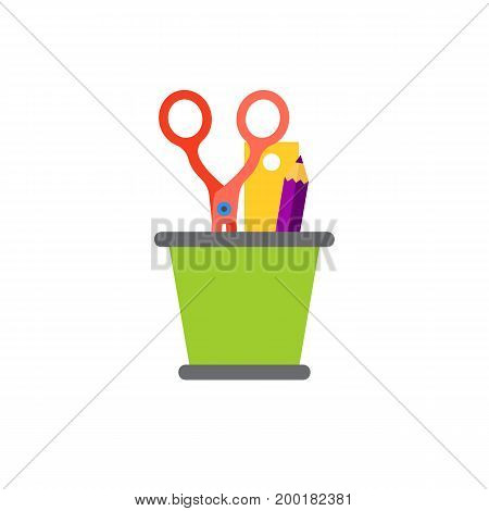 Icon of stationary basket. Cup, scissors, pencil, ruler. Stationary concept. Can be used for topics like office supply, engineering, art and craft