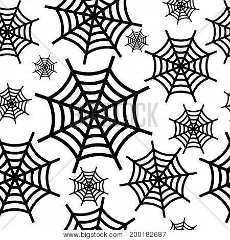 Black halloween cobweb seamless pattern. Flat vector cartoon illustration. Objects isolated on white background.