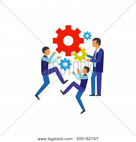 Icon of teamwork process. Mechanism, businessmen, motion. Teamwork concept. Can be used for topics like office well-organized work, unity, mutual understanding