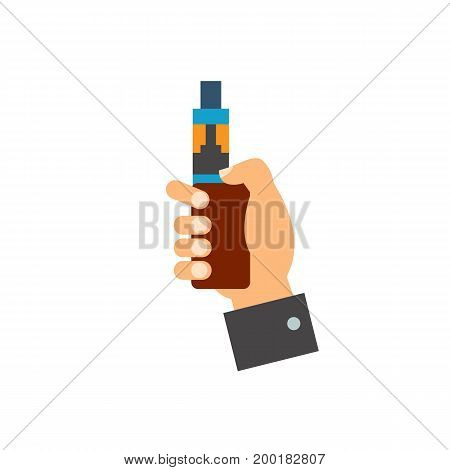 Icon of vape device. Electronic cigarette hand, holding, nicotine. Smoking concept. Can be used for topics like alternative smoking, lifestyle, trend