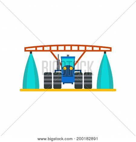 Icon of tractor watering field. Cultivation, irrigation, machine. Agriculture concept. Can be used for topics like farm, agronomy, plantation
