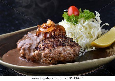 Hamburger Steak In Japanese Style Or Hambagu.