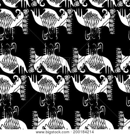 Black white abstract ethno seamless pattern.Vector hand drawn illustration design art book textile print poster design fabric.