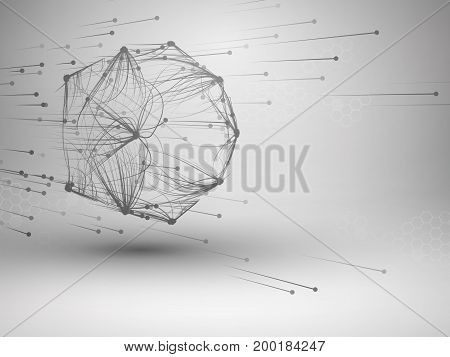 Icosahedron with connected lines and dots. Wireframe poligonal mesh motion element. Connection concept. Technology background. Vector illustration.
