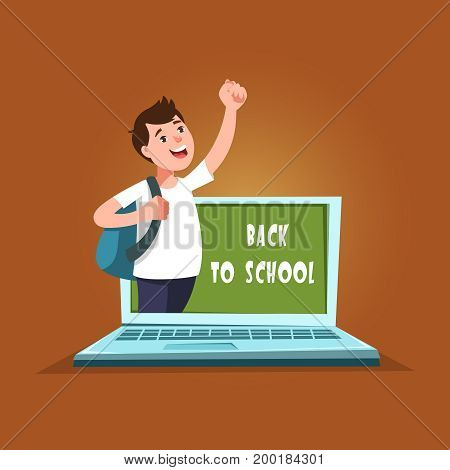 Vector illustration of cute african student and laptop computer with chalkboard in cartoon style. Design concept postcard back to school