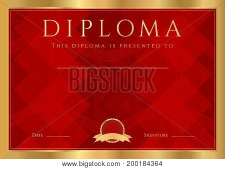 Diploma, Certificate of completion (abstract design template, background) with gold frame and dark red pattern