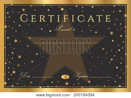 Certificate, Diploma of completion (abstract design template, black background) with gold frame and stars